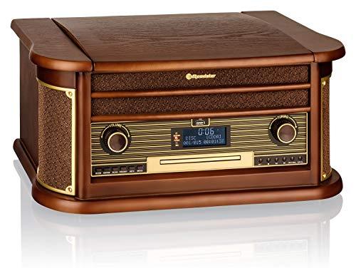 Roadstar HIF-1996D+BT houten platenspeler, 33,45,78 rpm, Dab,Dab+,FM, 40 W, CD, CD-R, CD-RW, snelle voortstuwing…