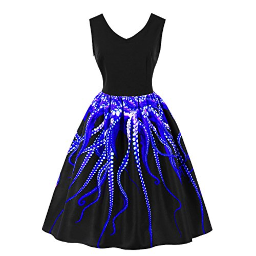 Wellwits Women's 3D Digital Octopus Print Sleeveless Vintage Dress Blue 2XL 80s Cocktail Dresses