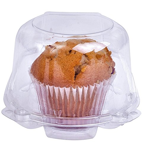 Clear Plastic Dome Muffin/Jumbo Cupcake Holders, Single Compartment- Pack of 50. (Clear, Large) by CulinWare