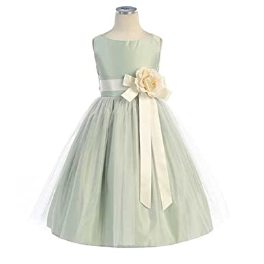 ba1b3c784 Image Unavailable. Image not available for. Color: Sweet Kids Toddler Girls  Size 2T Sage Tulle Easter Flower Girl Dress