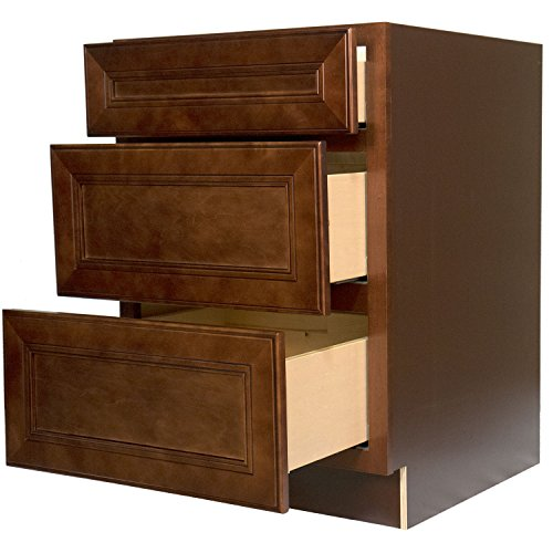 Exceptionnel Everyday Cabinets 36 X 34.5 X 24 In. Soft Close Three Drawer Base Cabinet  In Leo Saddle With 3 Drawers RTA