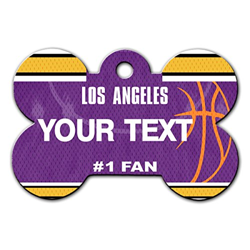 BleuReign(TM) Personalized Custom Name Basketball Los Angeles Purple and Gold License Plate Auto Tag Bone Shaped Metal Pet ID Tag with Contact Information