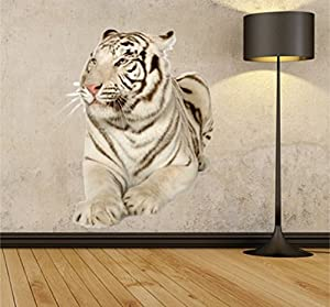 Large White Tiger Removable Wall Stickers Photo Realisitc Wildlife Wall  Decal,Animal Themed Peel And Stick Wall Art Part 57