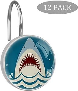 TIKISMILE Shark Jaws Crystal Glass Shower Curtain Rings Hooks Rustproof for Bathroom Shower Rods Curtains-Set of 12