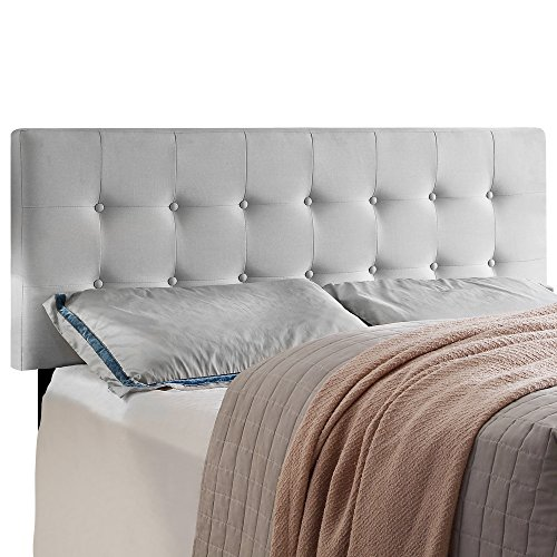HOME BI Upholstered Tufted Button Linen Fabric Headboard Full/Queen Size(Milk White) by HOME BI
