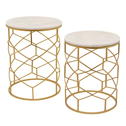 Price comparison product image Three Hands Metal/Marble Top Tables Home Décor Accent, Gold