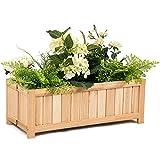Giantex Raised Flower Planter Box Portable Vegetable Patio Lawn Garden Backyard Elevated Outdoor Wood Planter Boxes(Natural Rectangle)