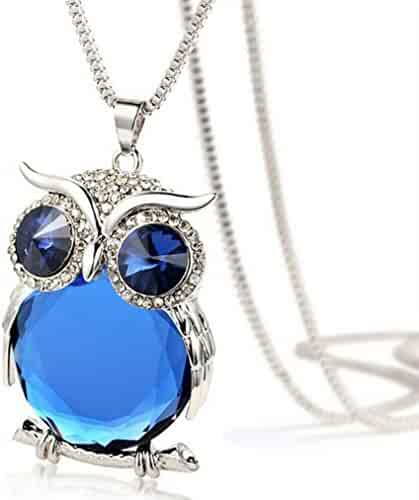 eb95b5eaa5e1 WYTong Women Owl Pendant Diamond Long Crystal Necklace Jewelry Sweater Chain