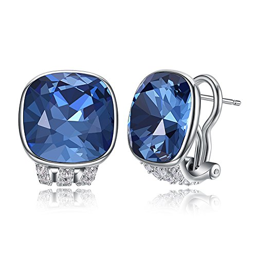 - Vogzone French Clip Earrings Sapphire Swarovski Crystal French Clip Pierced Earrings Silver CZ Stud Earrings for Women Wedding Jewelry