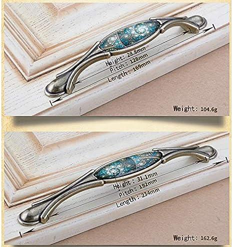 128mm Bohrlochabst DaoRier 2 St/ück M/öbelgriffe Klassisches Retro Glasmalerei Schubladegriff Bogengriff Schrankgriffe Schubladenkn/öpfe M/öbelkn/öpfe