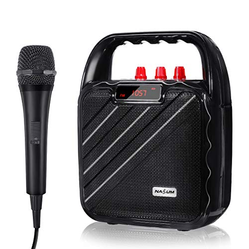 NASUM Portable PA Speaker System Bluetooth Karaoke System with Microphone Bluetooth Speaker Voice Amplifier Handheld Microphone, Ideal for Karaoke, Party, DJ, Outdoors or Indoors Activities