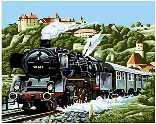 数字による絵画DIY 40x50 50x65cm美しい町の列車静物画キャンバス結婚式の装飾アート画像ギフト