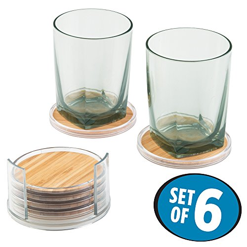 mDesign Bamboo Drink Coasters Holder