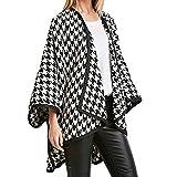 Pervobs Clearance Sale! Women Print Loose Open Front Cardigan Coat Thick Long Sleeve Lapel Houndstooth Coat Windbreaker(US:14-XL, Black)