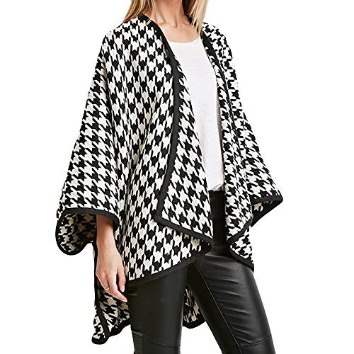 Pervobs Clearance Sale! Women Print Loose Open Front Cardigan Coat Thick Long Sleeve Lapel Houndstooth Coat Windbreaker(US:14-XL, Black)
