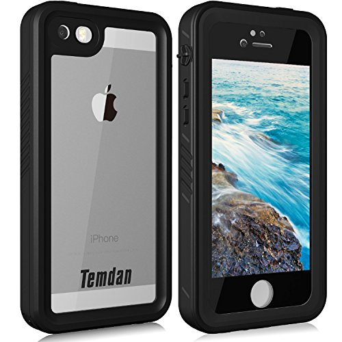 Temdan iPhone SE/5S/5 Waterproof Case with Kickstand and Floating Strap Shockproof Clear Waterproof Case for iPhone SE/5S/5(4inch) (BLACK)