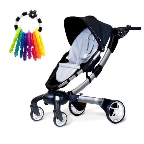 4moms Origami Stroller In Silver With Rattle Toy Happy Baby Bear