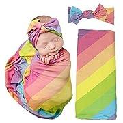Posh Peanut Baby Swaddle Blanket - Large Premium Knit Baby Swaddling Receiving Blanket and Headband Set, Baby Shower Newborn Gift (Rainbow Stripes)