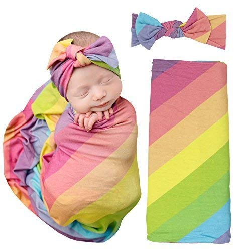 Posh Peanut Baby Swaddle Blanket - Large Premium Knit Baby Swaddling Receiving Blanket and Headband Set, Baby Shower Newborn Gift (Rainbow Stripes)
