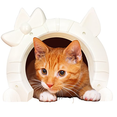 Cat kitty pet dog pass interior white door frame hidden - The kitty pass interior cat door ...