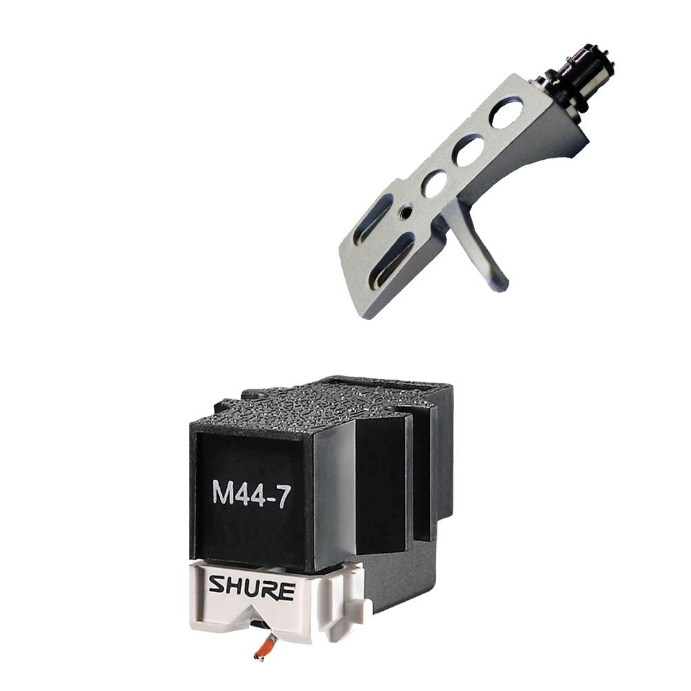 Shure M44-7 Cartridge with SILVER Premium Headshell -fits Technics Stanton
