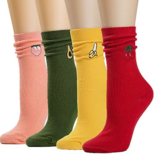 Socks Womens Socks Crew Socks Long Socks Cotton Printed Socks for Women Funny Novelty Socks Cartoon Cute Fashion Knit Socks PackFS-4 Pairs Fruit