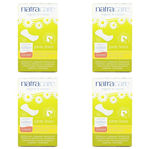 Natracare Organic & Natural Curved Panty Liners 30 ea (Pack of 4)