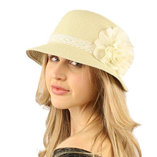 UPF 50+Beach Summer Bucket Lace Ruffle Flower Bell Cloche Packable Hat Natural (Bell Bucket Hat)