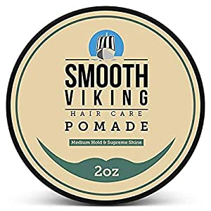 Pomade for men- Medium Hold & High Shine- Hair Styling Formula for Straight, Thick and Curly Hair- 2 OZ- Smooth Viking