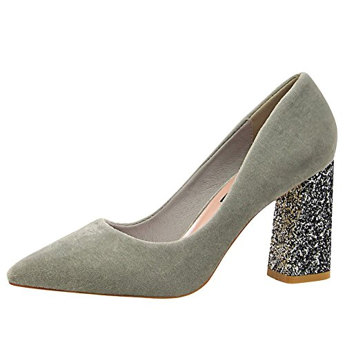 Mee Shoes Damen chunky heels spitz Suede Pumps Grau