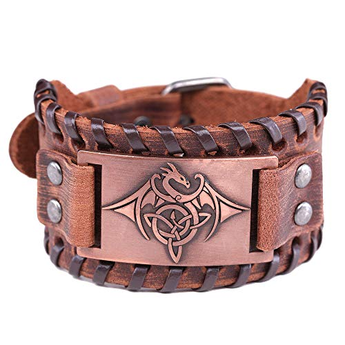 VASSAGO Vintage Talisman Norse Viking Celtic Knot Trinity Flying Dragon with Wing Brown Bracelet for Men Women (Brown Leather, Antique - Bracelets Copper Dragon