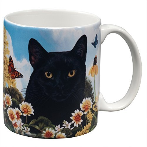 Black Cat Garden Party Fun Mug by Animal World by Animal World