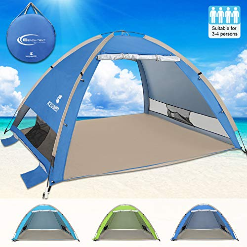 G4Free Large Pop Up Beach Tent Camping Sun Shelter Portable Sun Tents Outdoor Automatic Cabana 3-4 Person Anti UV Shade for Family Adults Baby Camping Fishing, Sets up in Seconds