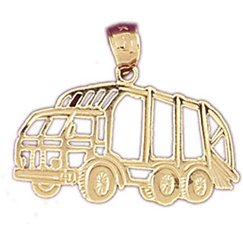14K Yellow Gold Dump Truck Pendant Necklace - 20 mm