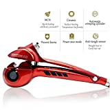 Hair Curler Curling Iron by Rejawece - Professional Salon Hair Styling Curling Wand with Automatic Steam Spray - Red