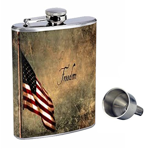 【最安値挑戦】 ヴィンテージAmerican Flag Perfection inスタイル8オンスステンレススチールWhiskey Flask with Flask Free Perfection Funnel with d-006 B016XL90IW, アサクラマチ:9be71f21 --- newsdarpan.in