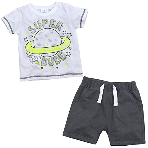 Mini Kidz Infant Boys Super Dude T-Shirt and Shorts Outfit Set Ideal for Summer 4-5 Years (Saturn 4 Rocket)