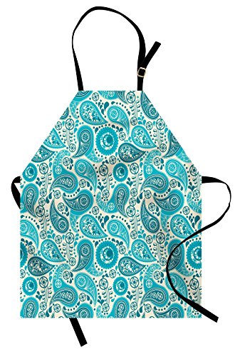 Ambesonne Turquoise Apron, Paisley Pattern Antique Floral Pattern Ornaments Stylized Classical Middle Eastern, Unisex Kitchen Bib Apron with Adjustable Neck for Cooking Baking Gardening, Aqua Teal -