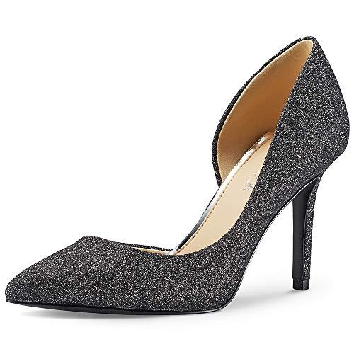 - JENN ARDOR Stiletto High Heel Pointed Closed Toe Slip On Dress Party Wedding Evening Pumps Shoes for Women Grey 10 M US