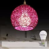 HQLCX Chandelier Originality personality modern simplicity bedroom terrace bar led aluminium wire fishing line pendant lamp,Violet