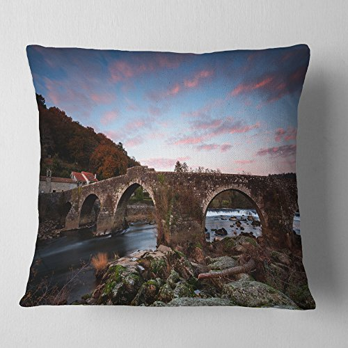 Designart CU9424-16-16 Old Roman Bridge in Spain' Landscape Photo Throw Cushion Pillow Cover for Living Room, Sofa, 16 in. x 16 in, Pillow Insert + Cushion Cover Printed on Both Side by Designart