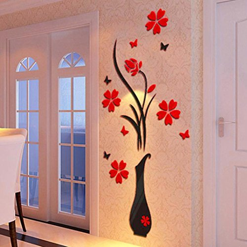 3D Wall Stickers, Bokeley DIY Vase Flower Tree Crystal Arcylic 3D Wall Stickers Decal Home Livingroom Decoration (A)