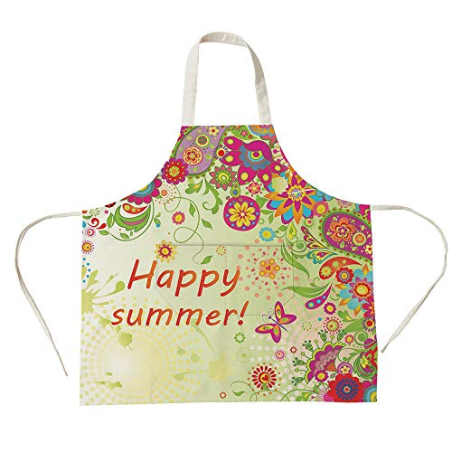 3D Printed Cotton Linen Big Pocket Apron,Floral,Blossoms Bud Flowers Leaves Paisley Ethnic Motifs with Hello Summer Quote Image,Multicolor,for Cooking Baking Gardening