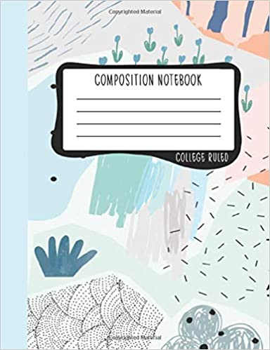 Lined Pages Writing Journal 100 Modern Abstract in Mint /& Coral 0953 Composition Notebook College Ruled