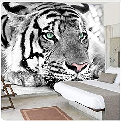 3d Mural Custom 3d Photo Wallpaper Black White Animal Tiger Wall