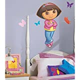 MN 9 Piece Kids Girls Pink Blue Yellow Dora The Explorer Wall Decals Set, Cartoon Themed Wall Stickers Peel Stick, Fun Animated Buterflies Insects Animals Adorable Decorative Graphic Mural Art, Vinyl
