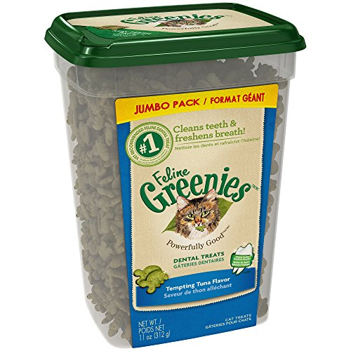 FELINE GREENIES Dental Natural Cat Treats Tempting Tuna Flavor, 11 oz. Tub]()