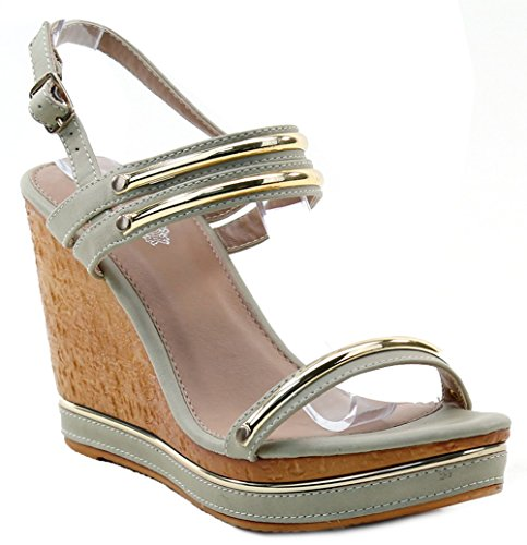 Metallic Ornaments Ankle Strap Buckle Platform Wedge Sandals Womens Heels TSlLuN
