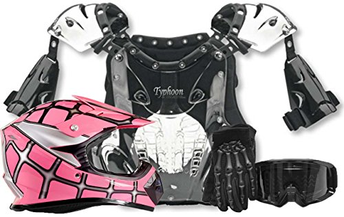 Youth Kids Peewee Offroad Gear Combo Helmet Gloves Goggles Chest Protector Motocross ATV Dirt Bike Spiderman Pink - XL