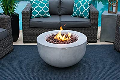 "AKOYA Outdoor Essentials 30"" Fiber Concrete Outdoor Propane Gas Fire Pit Table Bowl in Gray"